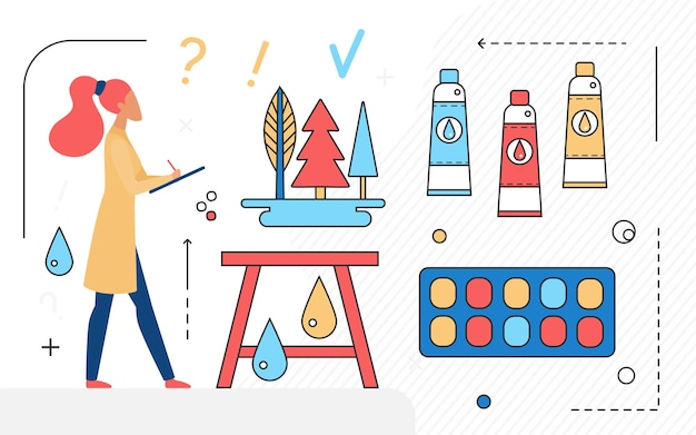 Art studio agency workspace concept and artist designer freelance character working