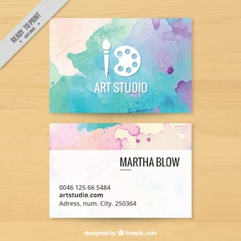 Art studio, business card painted with watercolors