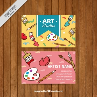Art studio card with elements of painting