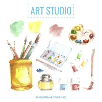 Art studio elements, watercolor effect