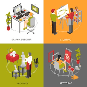 Art studio isometric characters set