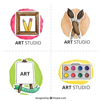 Art studio logo, watercolor