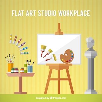 Art studio with canvas  in flat design