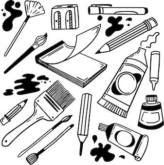 Art supplies doodle hand drawn