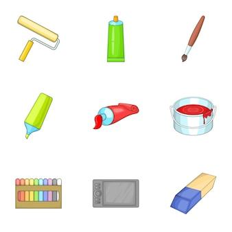 Art supplies icons set, cartoon style