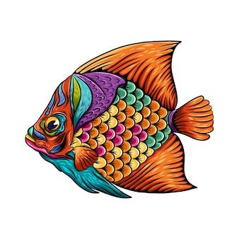 오렌지 지느러미와 꼬리가있는 몸에 무지개 색의 예술 외과 의사 물고기 zentangle