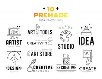 Art tools and materials for painting logo design.
