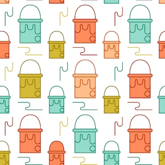 Art tools and materials creative icon seamless pattern