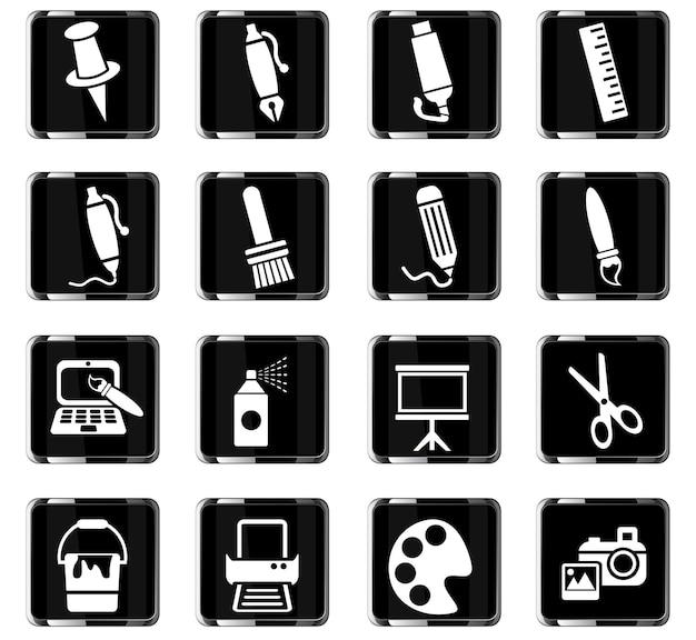 Художественные инструменты веб-иконки для дизайна пользовательского интерфейса