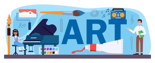 Art typographic header. student holding art tools learning how to draw