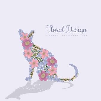 아름 다운 고양이와 꽃 예술 벡터 화려한 그림.