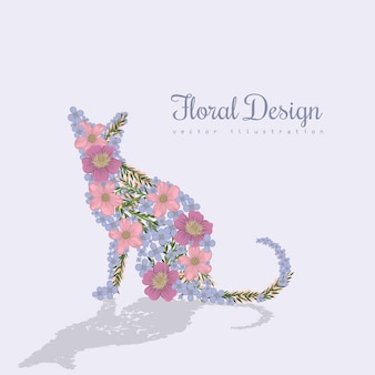 Art vector colorful illustration with beautiful cat and flowers.