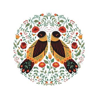 かわいい民俗鳥と美しいフローラルリースのアートベクトルイラスト。