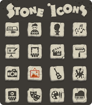 Art web icons on stone blocks in the stone age style for user interface design