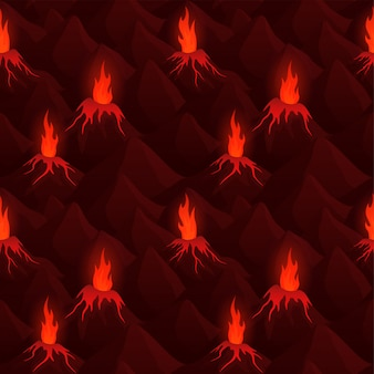 Art with dark seamless pattern with volcanoes