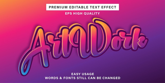 Art work editable text effect