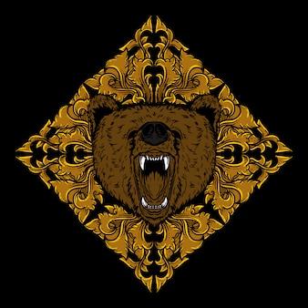 Художественная работа иллюстрация и дизайн футболки голова медведя золотой гравюра орнамент
