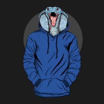 Художественная иллюстрация и дизайн футболки человек-кобра