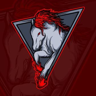 Иллюстрация искусства и дизайн футболки логотип огненной лошади