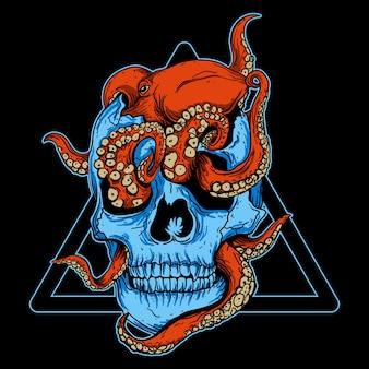 Художественная иллюстрация и дизайн футболки череп осьминога