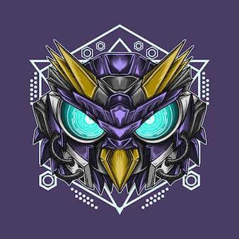 Иллюстрация и футболка с изображением головы робота-совы с сакральной геометрией
