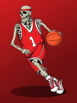 Art work illustration design skeleton basketball