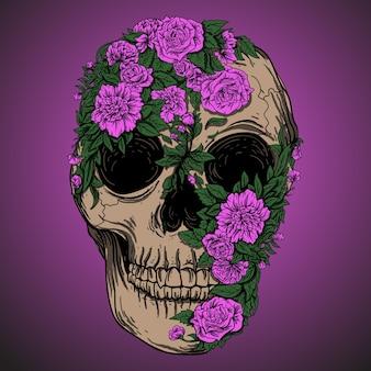 예술 작품 일러스트 디자인 해골 꽃