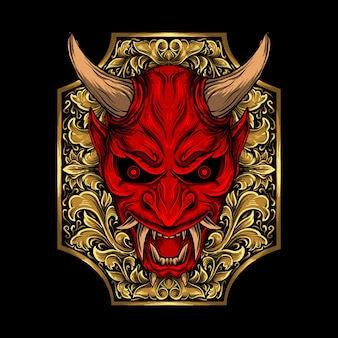 Art work illustration and t-shirt design abstract oni mask engraving ornament