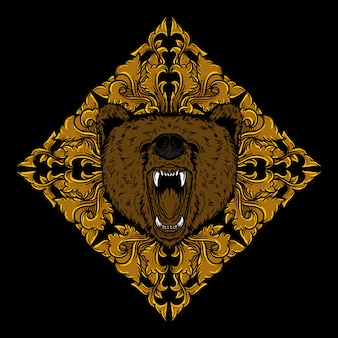 Art work illustration and t-shirt design bear head golden engraving ornament