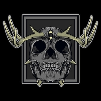 Art work illustration and t-shirt design devil skull deer horn