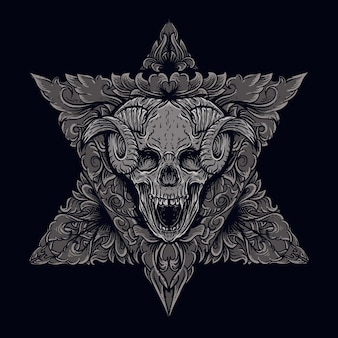 Art work illustration and t-shirt design devil skull with engraving ornament