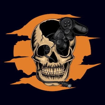 Art work illustration and t-shirt design human human skull with controller game