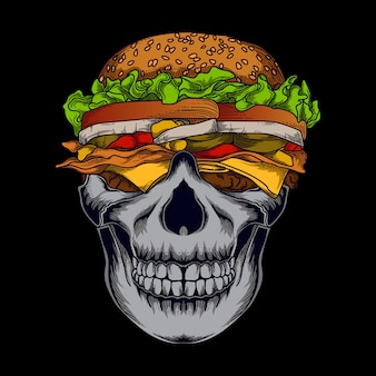 Art work illustration and t-shirt design human skull burger  premium