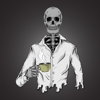 Art work illustration and t-shirt design skeleton drink coffee