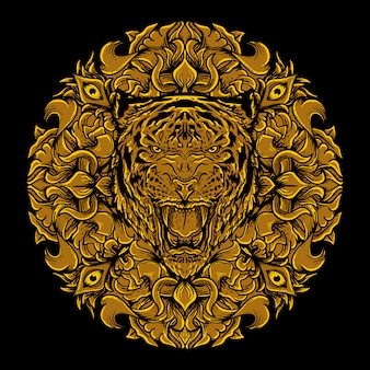 Art work illustration and t-shirt design tiger head golden engraving ornament