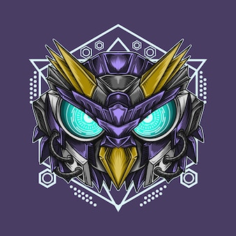 Art work illustration and t-shirt  mecha owl robot head with sacred geometry