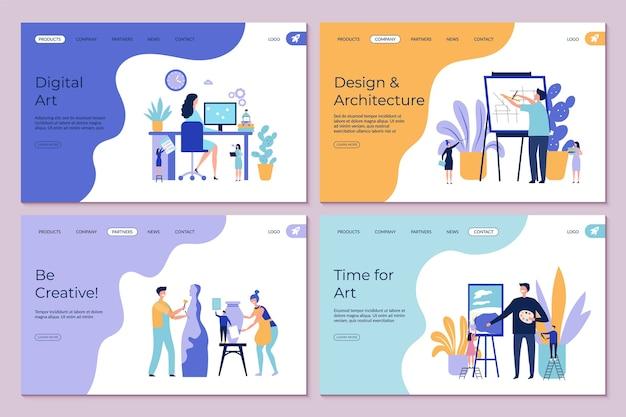 アートワークのランディングページ。建築デザイン図面彫刻コンセプト。フラットクリエイティブな人々のキャラクターのテンプレート。アートスタジオ、職人の彫刻・絵画イラストの制作・製作