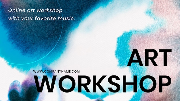Art workshop blue template vector in chromatography art ad banner