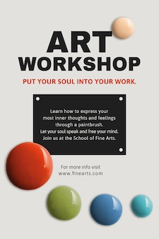 Art workshop template vector color paint abstract ad poster