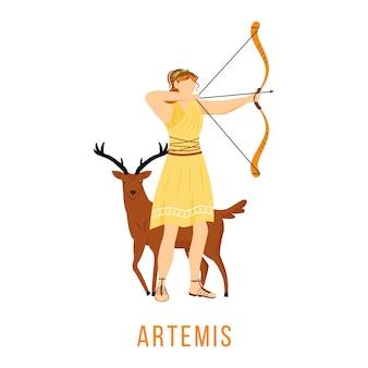 アルテミスフラット。古代ギリシャの神。月の女神、狩りとアーチェリー。神話。神話の人物。白い背景の上の孤立した漫画のキャラクター