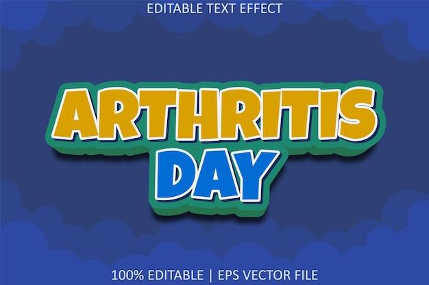 Arthritis day with cartoon style editable text effect