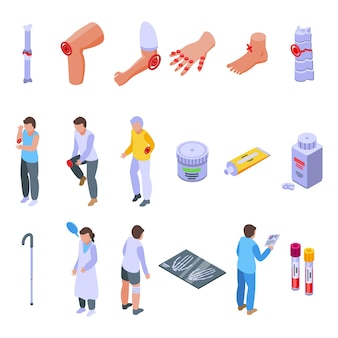 Arthritis icons set. isometric set of arthritis vector icons for web design isolated on white background