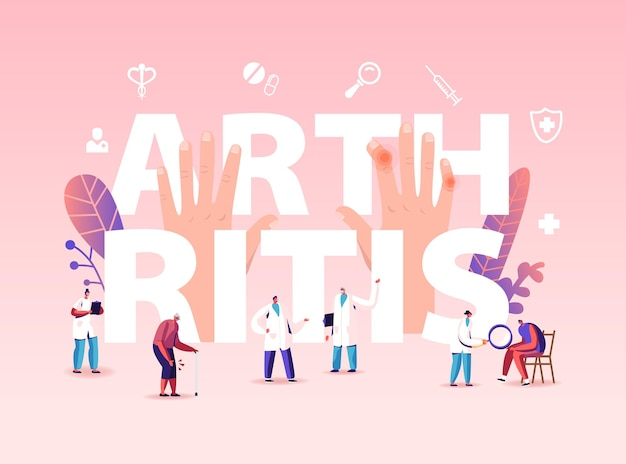 Arthritis sickness concept. people with diseased joints visiting doctors characters at hospital or rheumatology clinic.