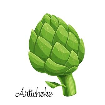 Artichoke green flower heads illustration