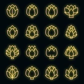 Artichoke icons set vector neon