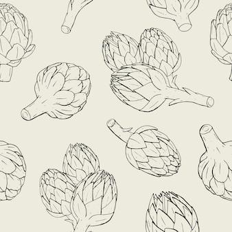 Артишок бесшовные модели с рисованной растений. контурная иллюстрация