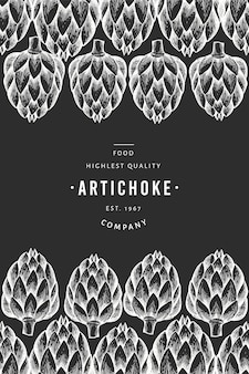 Artichoke vegetable design template. hand drawn vector food illustration on chalk board. engraved style vegetable frame.