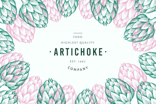 Artichoke vegetable design template