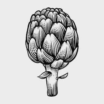 Artichokes hand drawn engraving style illustrations