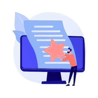 Valutazione dell'articolo, editing. blog su internet, gestione dei contenuti, ottimizzazione dei motori di ricerca. marketing seo, elemento di design idea di copywriting.